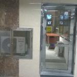 Mříž vzduchotechniky a dveře nerez - lesk